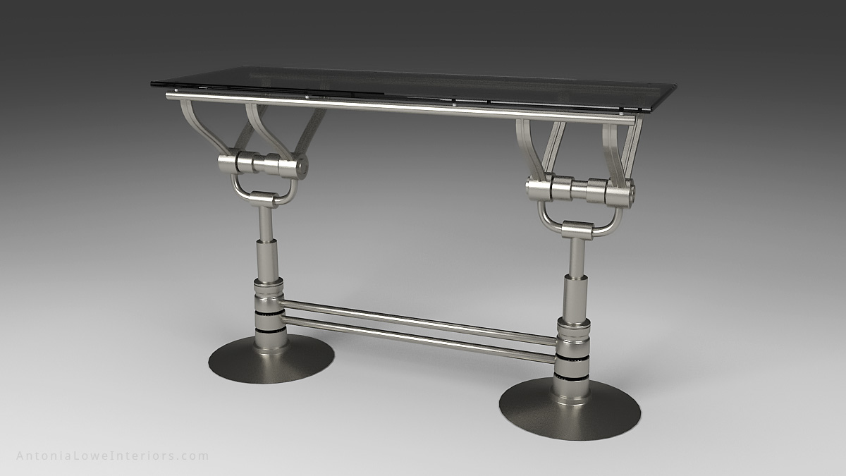 Front View Mechanical Style Drinks Bar - Stainless Steel mechanical style base with silver tinted glass top.