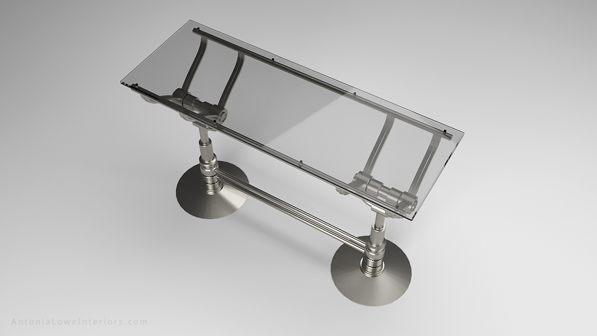 Top View Mechanical Style Drinks Bar - Stainless Steel mechanical style base with silver tinted glass top.