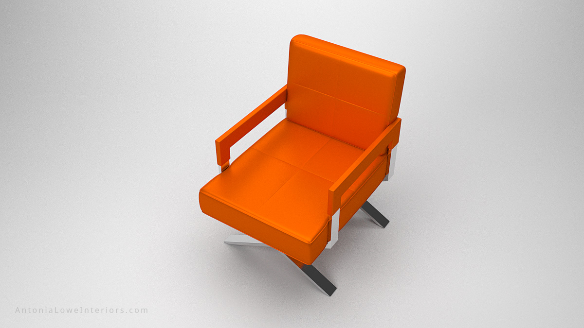 Top view Luxurious Vibrant Orange Leather Chair upholstered square bright orange leather chair with arms on a crossed polished chrome legs