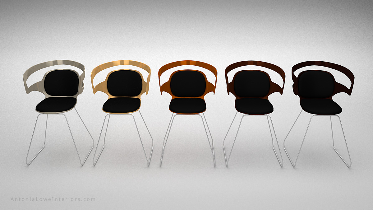Front view Modern Metallic Plastic Curve Chairs black with curved cut out back, copper, bronze, gold, silver and seat padding