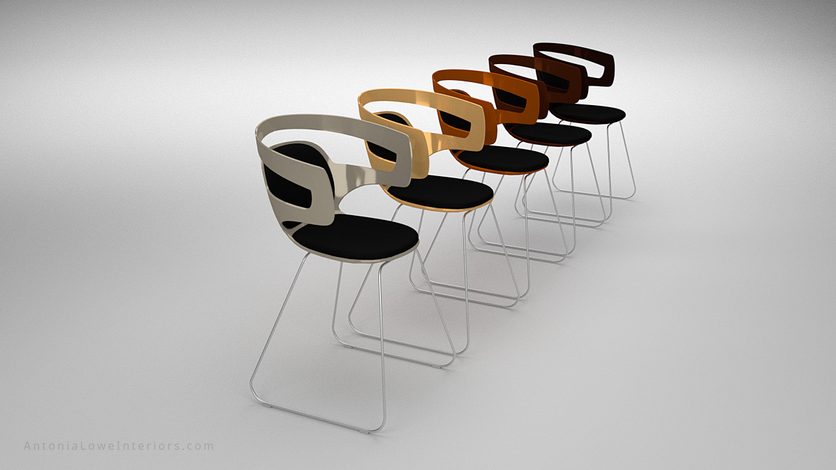 End view Modern Metallic Plastic Curve Chairs black with curved cut out back, copper, bronze, gold, silver and seat padding