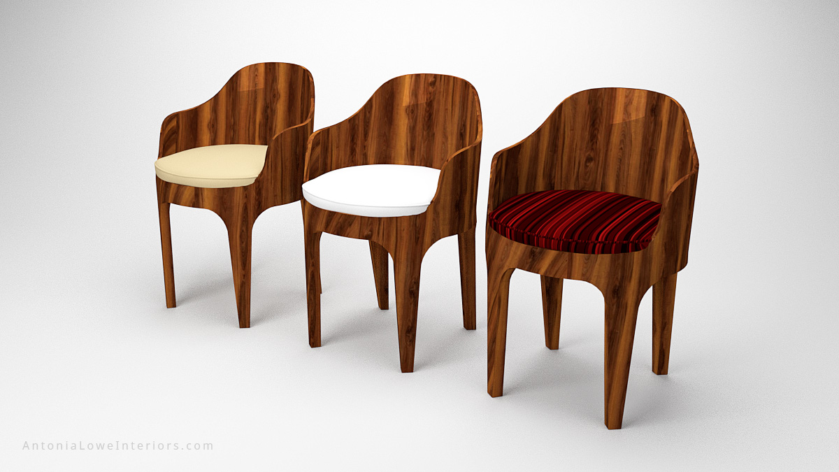 Classical Curved Red Wooden Bucket Seats wooden curved glossy wood chairs with white, cream and red striped seat cushions