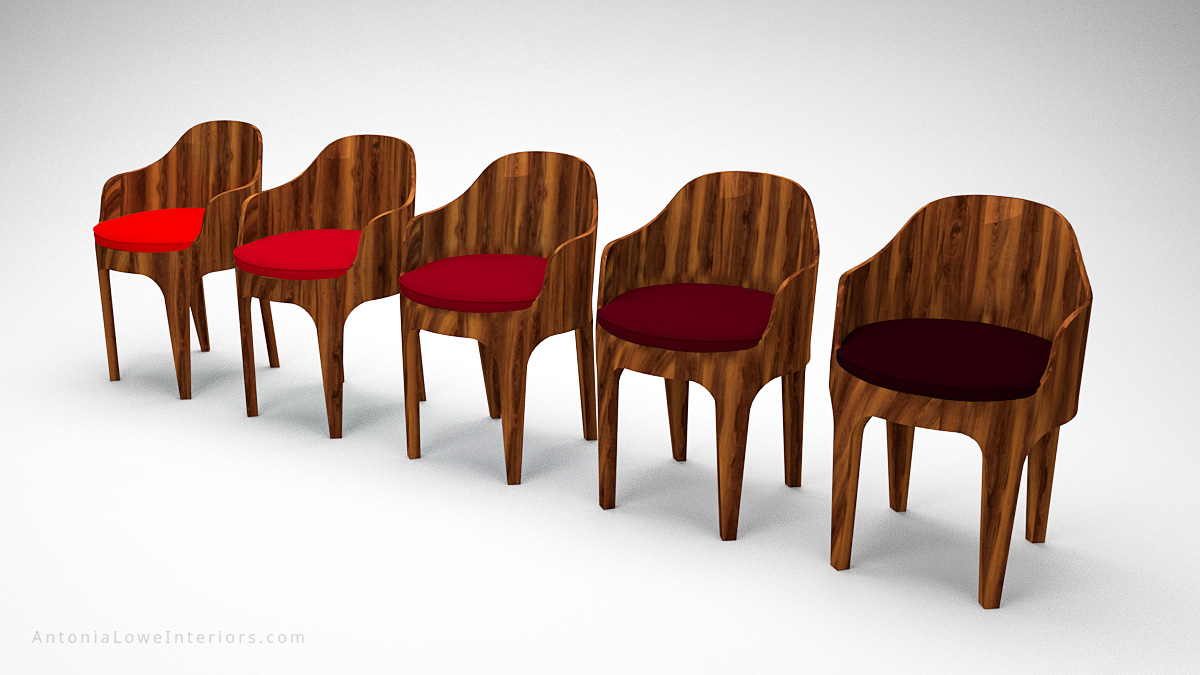 Classical Curved Red Wooden Bucket Seats curved glossy wood chairs with seat cushions in different shades of red