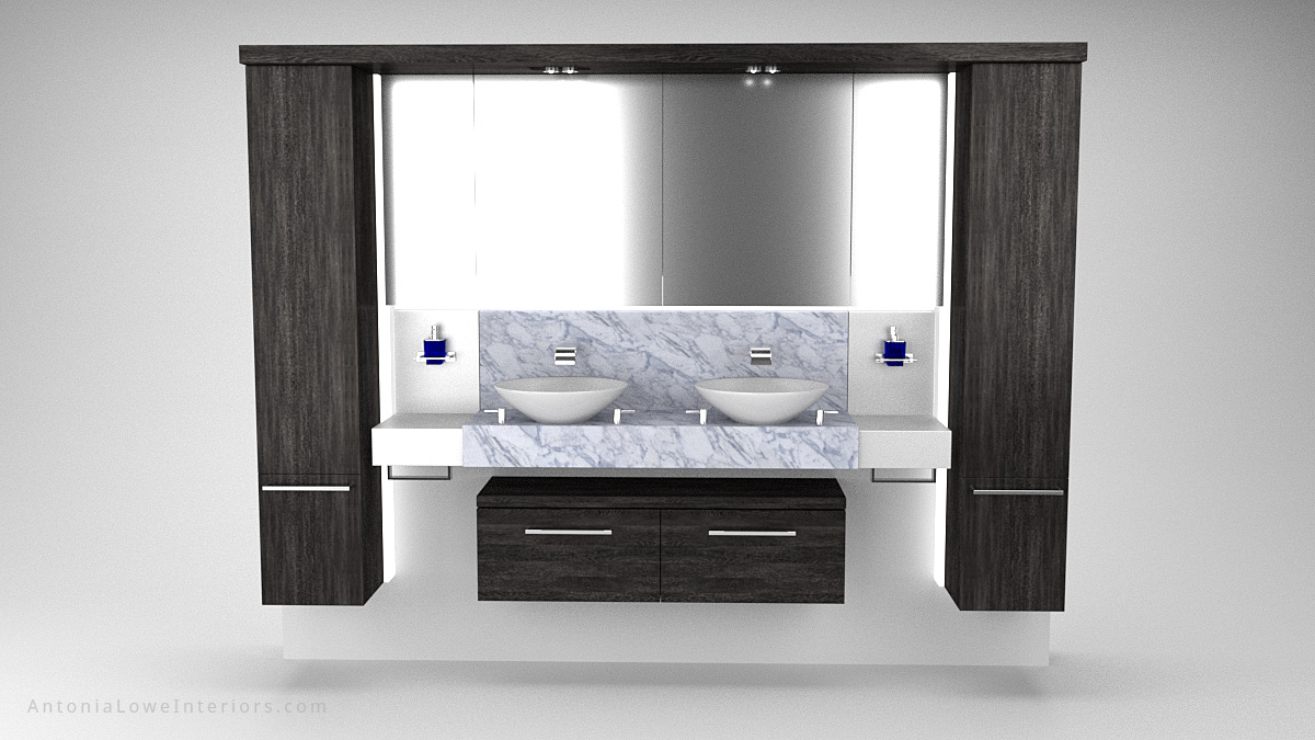 Front view Stylish Modern Yacht Bathroom Interior black wooden storage surround around large mirror above double sinks with a marble backsplash and surface