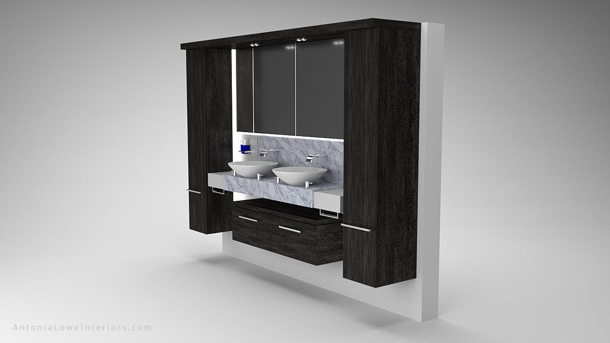 Stylish Modern Yacht Bathroom Interior black wooden storage surround around large mirror above double sinks with a marble backsplash and surface