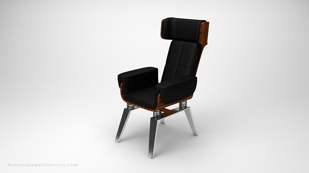 Stylish Trendy Spring Chair black leather chair with a wooden back on a spring base mounted on to metal legs