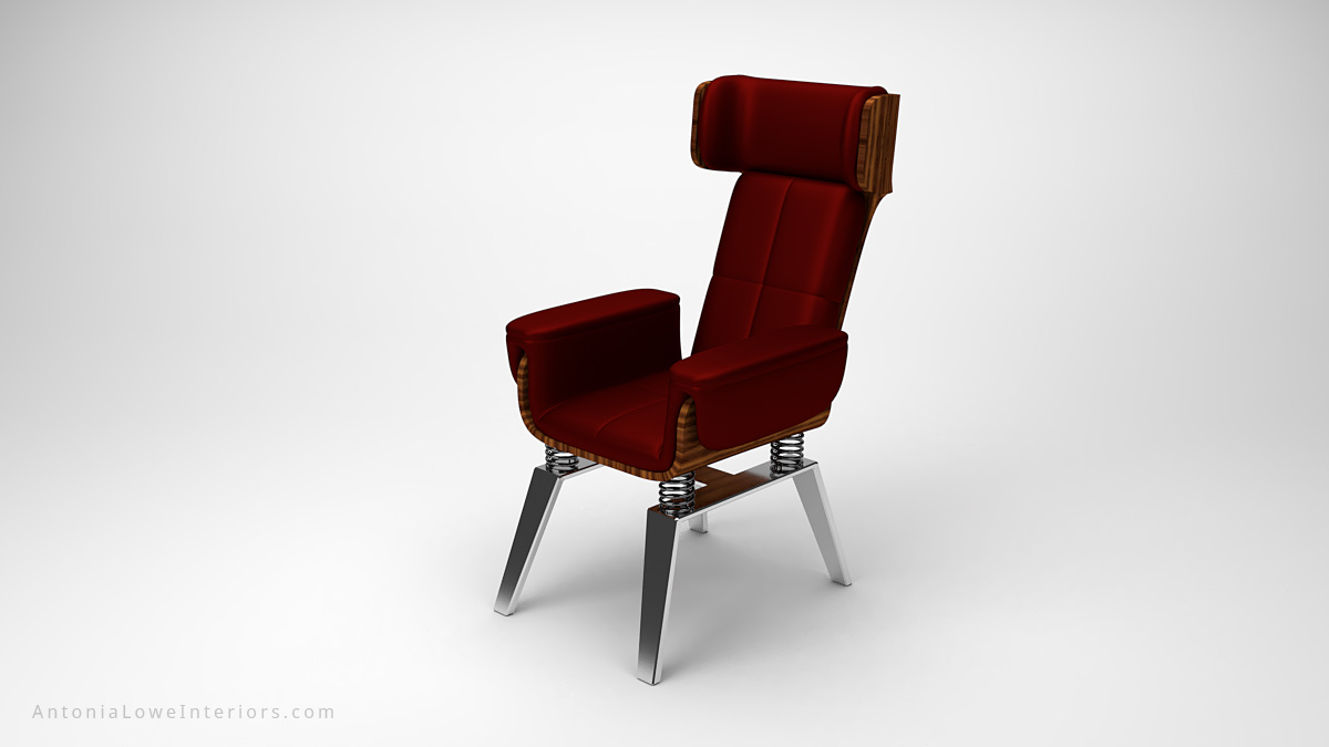 Stylish Trendy Spring Chair dark red leather chair with a wooden back on a spring base mounted on to metal legs