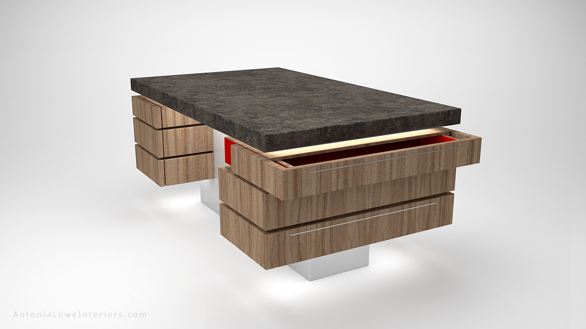 Contemporary Concrete Kitchen Island wooden storage at the sides on a white base with a concrete work top with open drawer showing crimson red interio