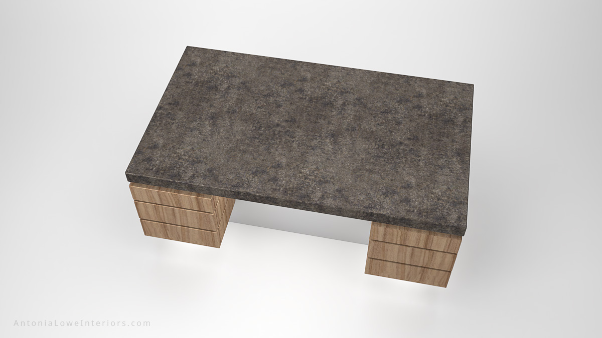 Top view Contemporary Concrete Kitchen Island wooden storage at the sides on a white base with a concrete work top