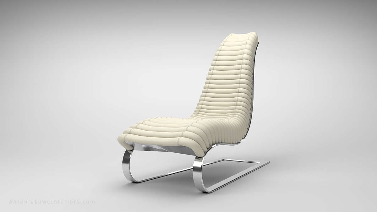 Trendy Curve White Leather Lounging Chair curved white leather strip quilted seat high back on a curved polished chrome base