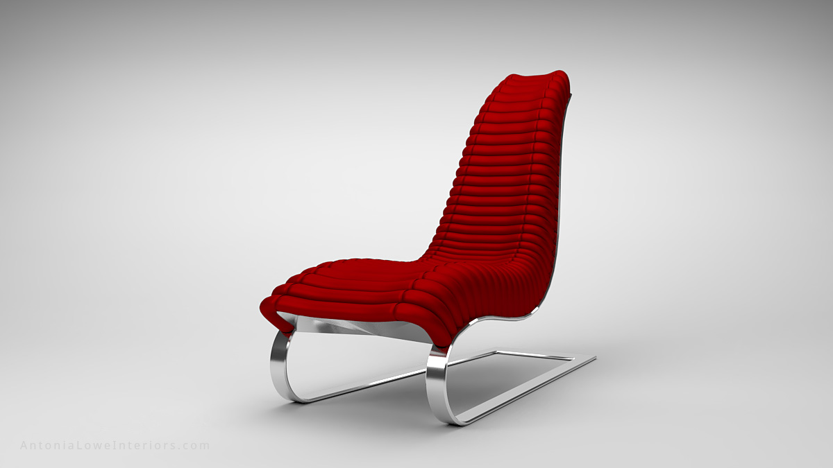 Trendy Curve Red Leather Lounging Chair curved red leather strip quilted seat high back on a curved polished chrome base