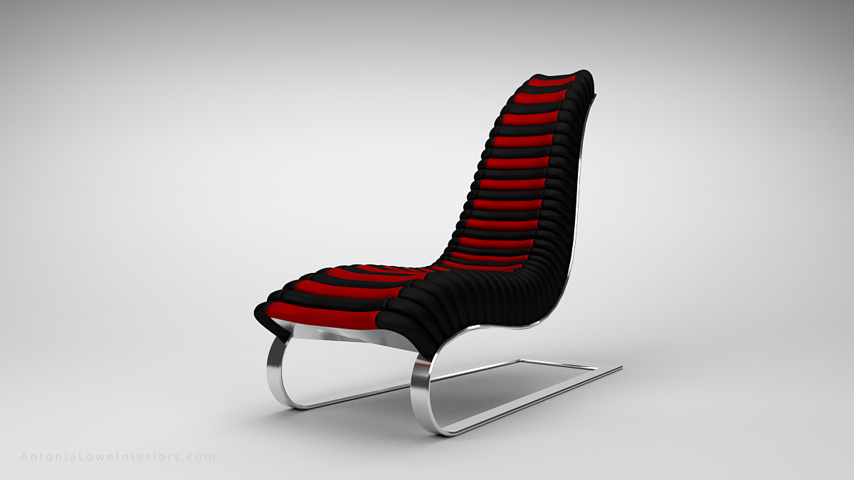 Trendy Curve Black and Red Leather Lounging Chair curved black and red leather strip quilted seat high back on a curved polished chrome base