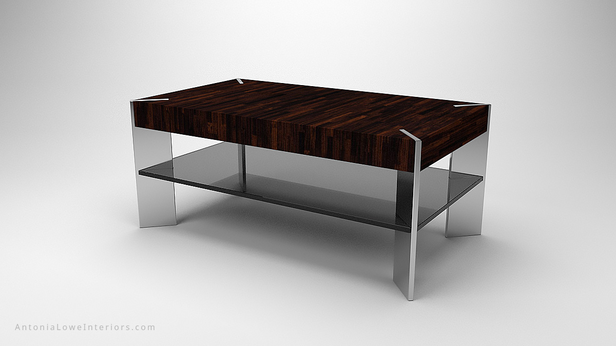 Trendy Angled Edge Coffee Table, thick wooden fine line wood table top on a reinforced glass angled base cuts into corners of table top