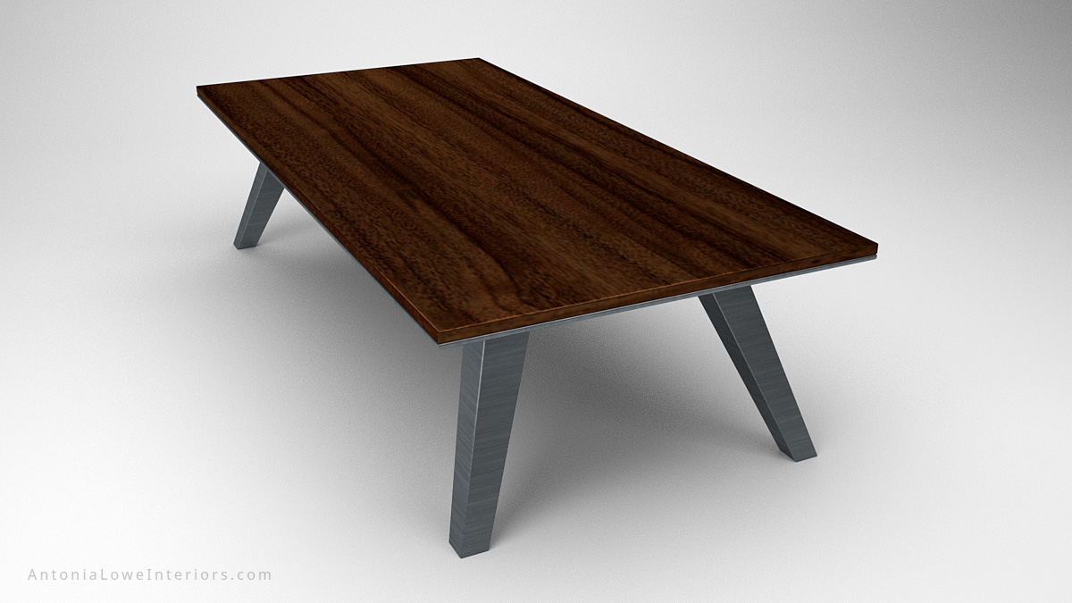 Modern Minimalist Architects Table wood table top on heavy brushed metal legs