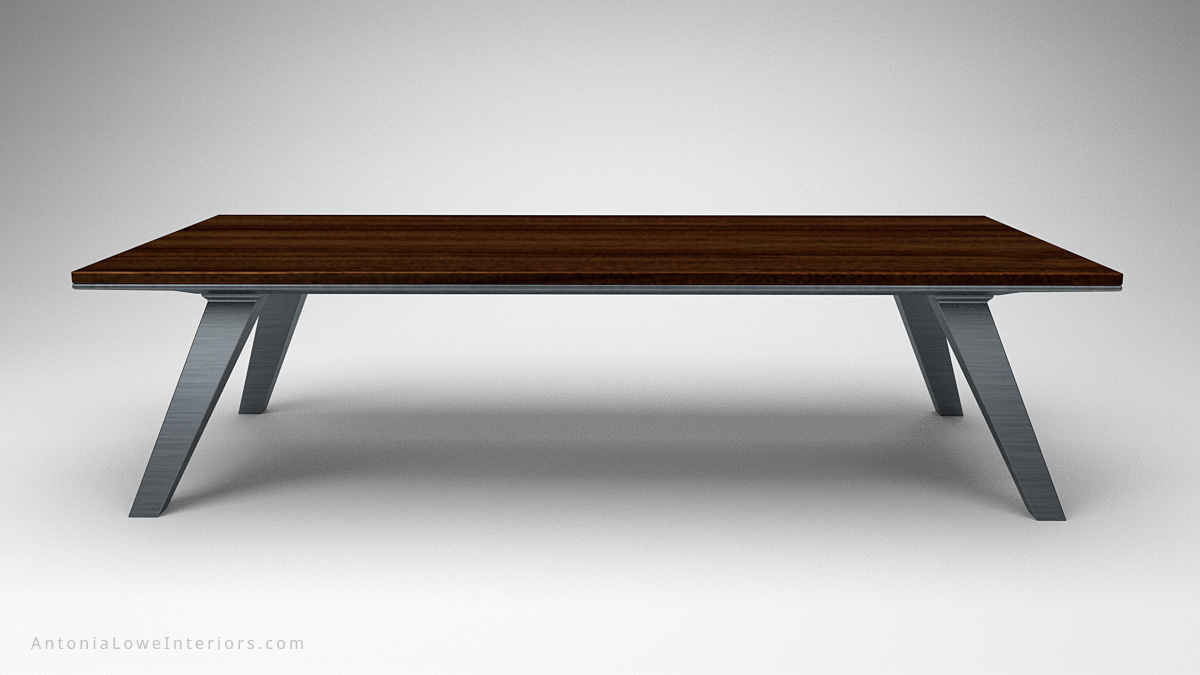 Front view Modern Minimalist Architects Table wood table top on heavy brushed metal legs