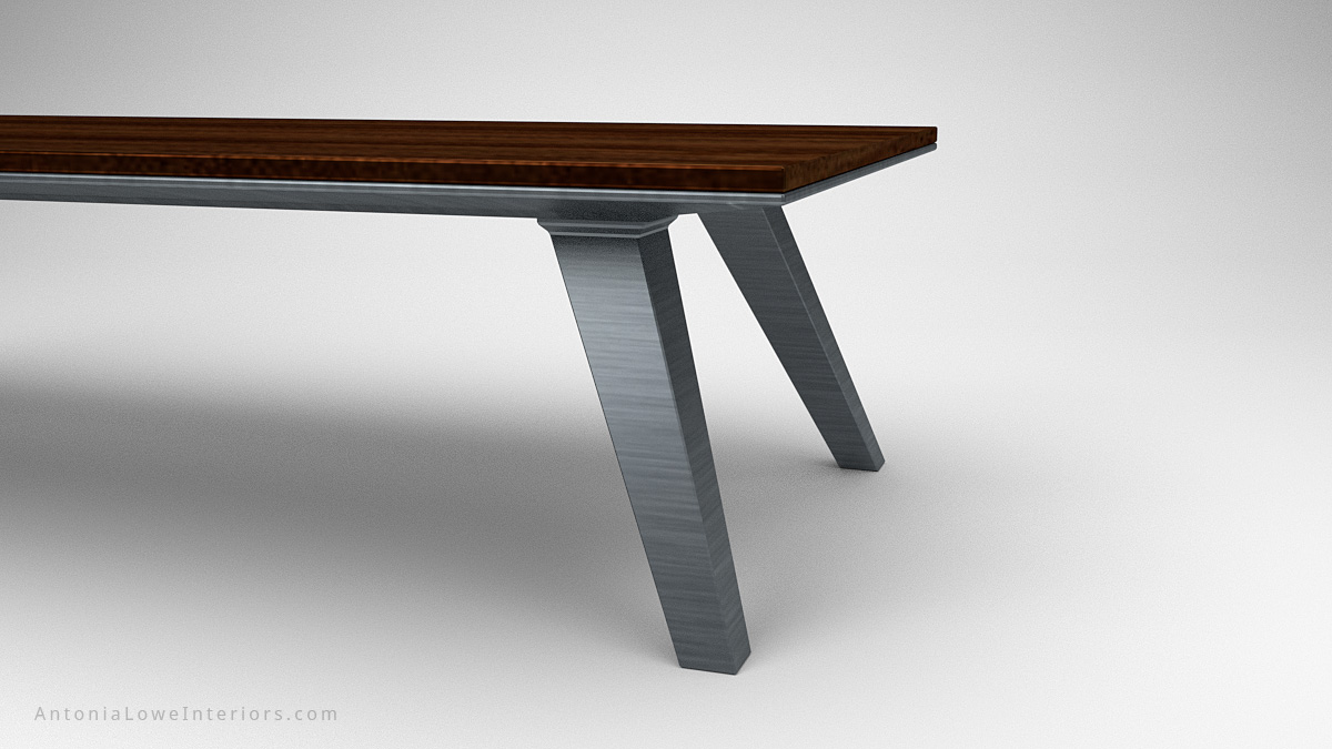 Close up view Modern Minimalist Architects Table wood table top on heavy brushed metal legs