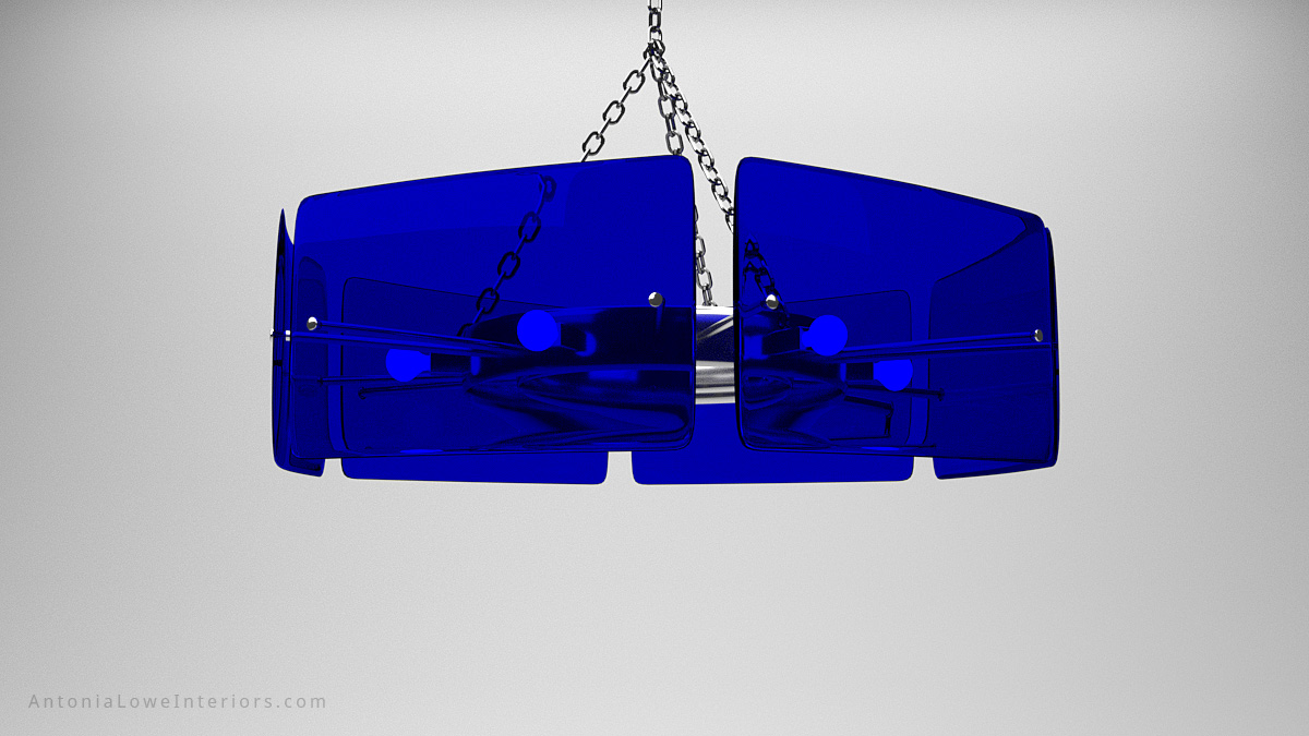 Sophisticated Sapphire Blue Panel Pendant central lighting circle surrounded by six sapphire blue glass panels