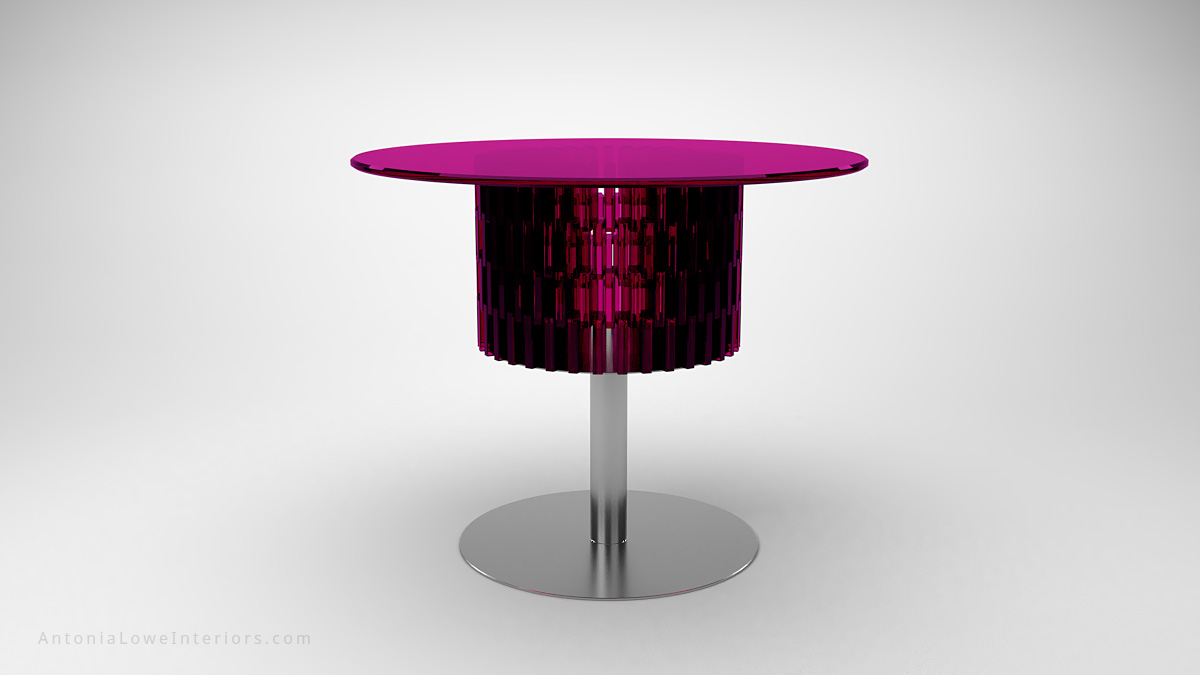 Vibrant Hot Pink Cog Hyper Table polished chrome base with a vibrant hot bright pink glass table top with hot pink cog glass detailing underneath