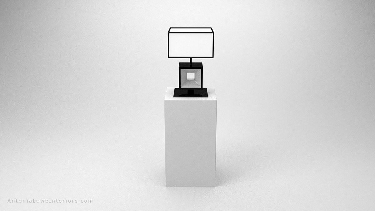 Front view Elegant Modern Contrast Cube Lamp black square cube base with glass centre with a white cube lampshade with black edging trim