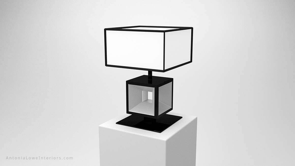 Close up Elegant Modern Contrast Cube Lamp black square cube base with glass centre with a white cube lampshade with black edging trim