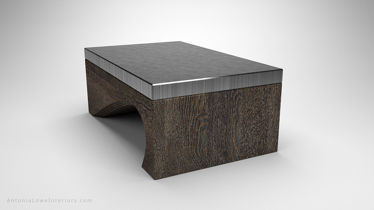 Contemporary Solid Curve Bottom Coffee Table slate coloured wood with curve cut out of base and rectangular shelf in one side topped with a shiny silver grey surface