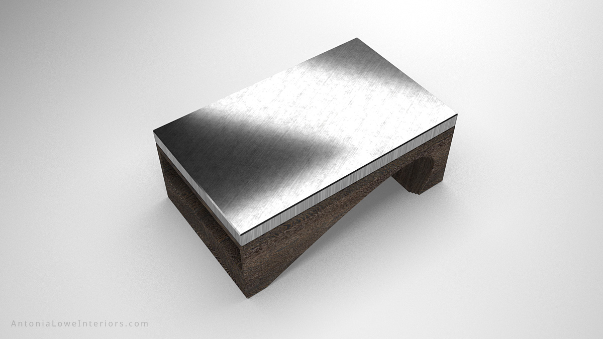 Top view Contemporary Solid Curve Bottom Coffee Table slate coloured wood with curve cut out of base and rectangular shelf in one side topped with a shiny silver grey surface