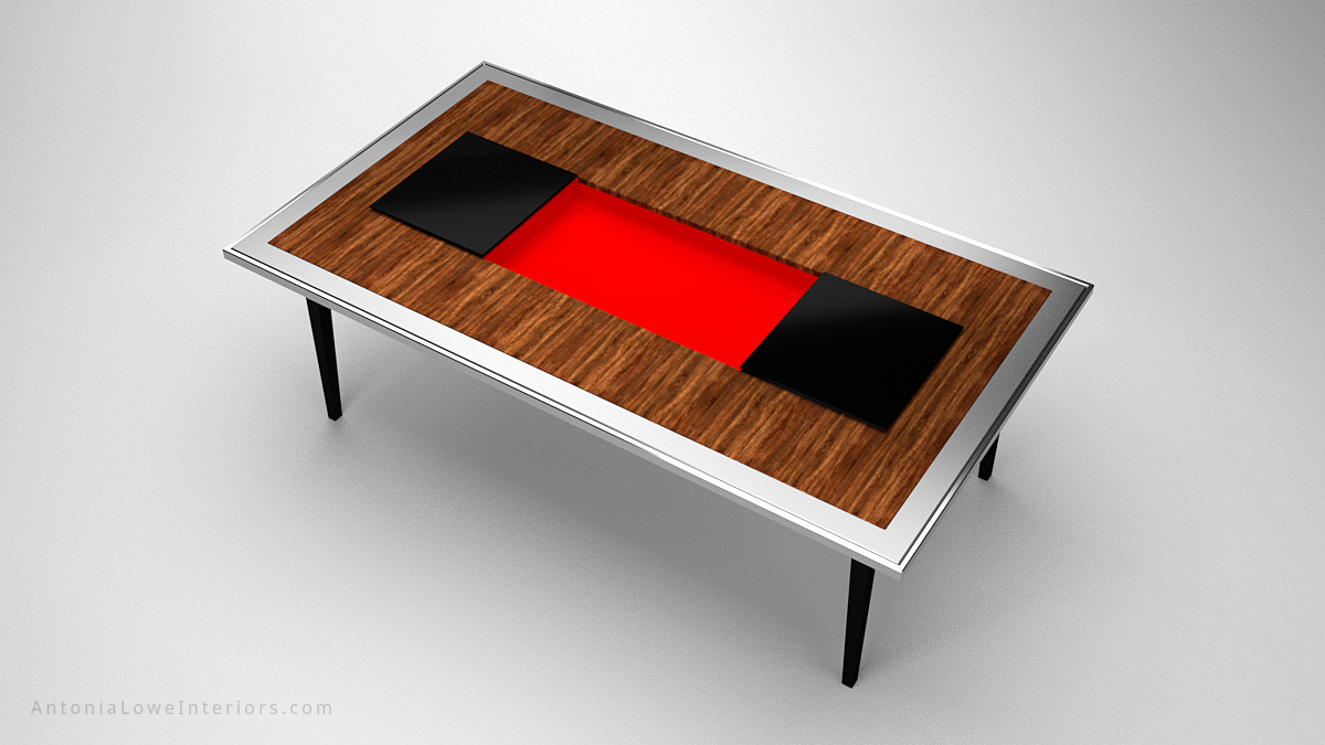 Top view A Modern Dining Table With a Surprise Twist wooden table with a silver edging and a black centre and legs, the black central section opens to reveal a secret crimson red compartment