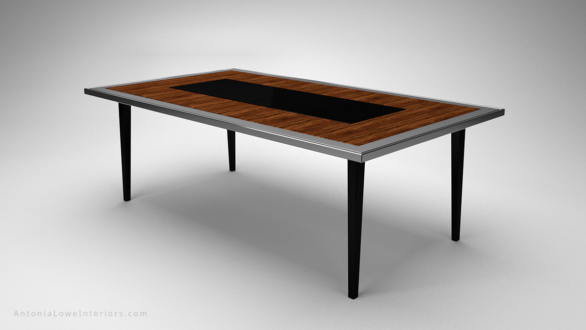 A Modern Dining Table With a Surprise Twist wooden table with a silver edging and a black centre and legs