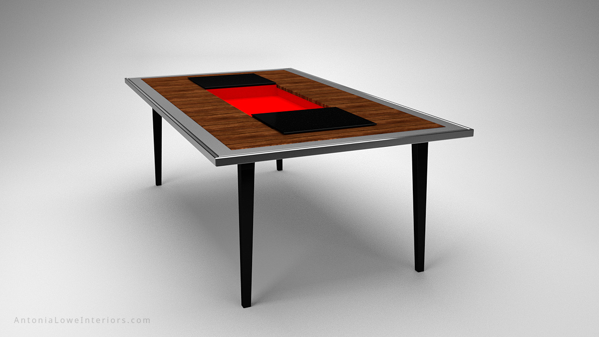 A Modern Dining Table With a Surprise Twist wooden table with a silver edging and a black centre and legs, the black central section opens to reveal a secret crimson red compartment
