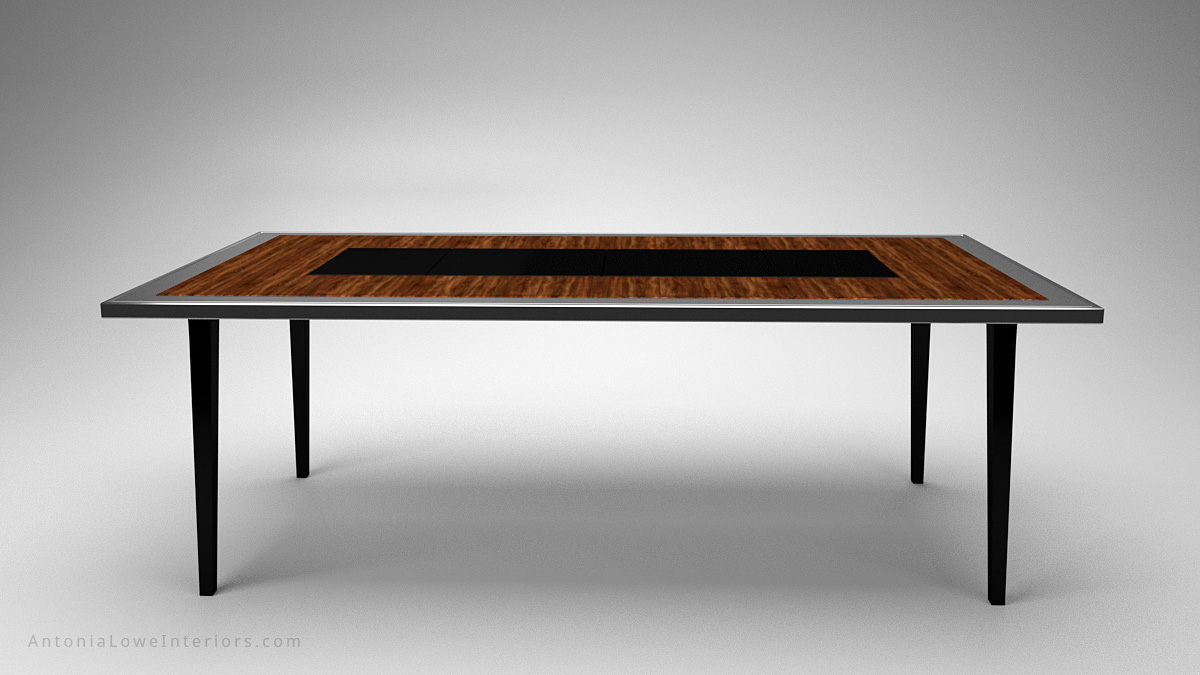 Front view A Modern Dining Table With a Surprise Twist wooden table with a silver edging and a black centre and legs