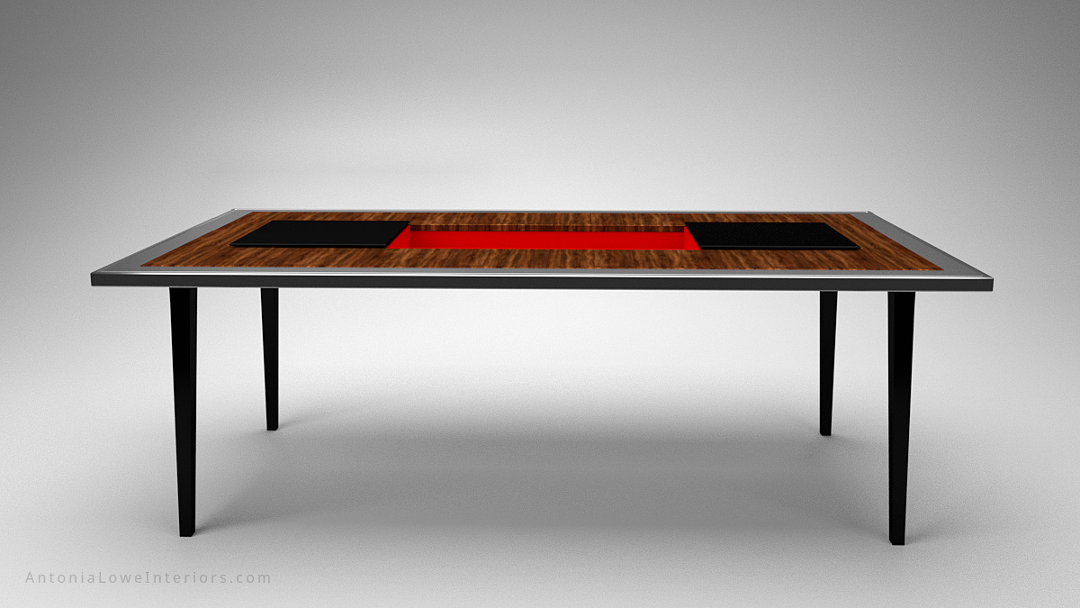 Front view A Modern Dining Table With a Surprise Twist wooden table with a silver edging and a black centre and legs, the black central section opens to reveal a secret crimson red compartment