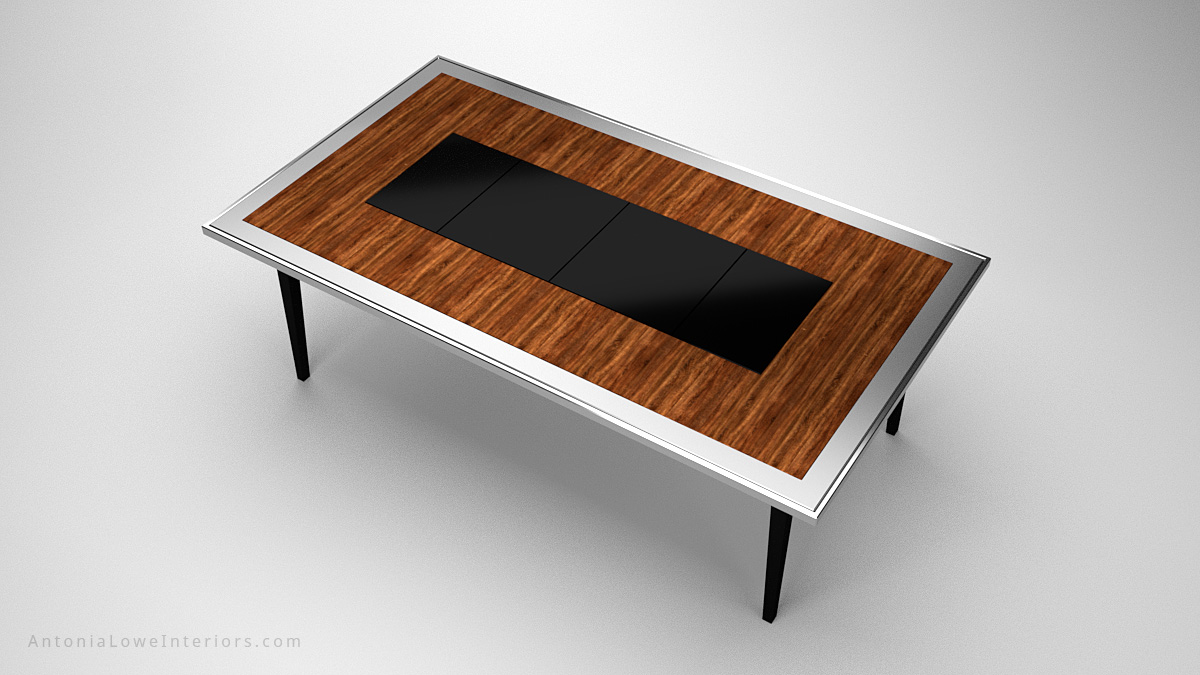 Top view A Modern Dining Table With a Surprise Twist wooden table with a silver edging and a black centre and legs