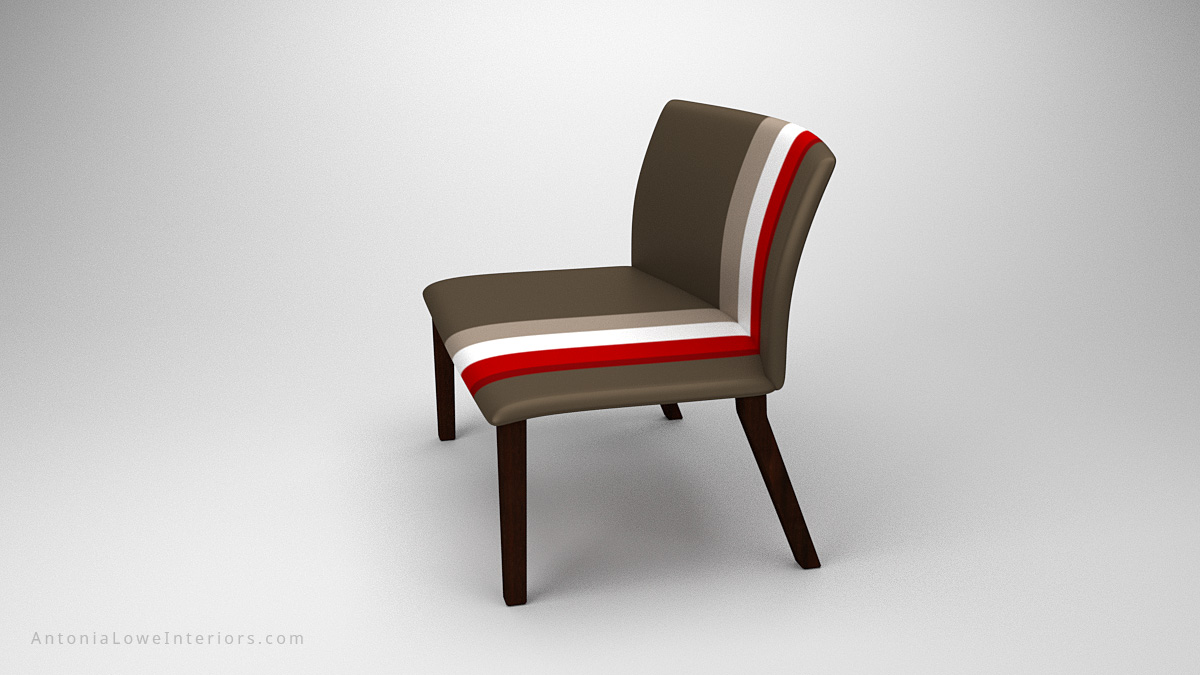 Classic Modern Sports Style Seat grey wide sports style seat in grey with a trio of stripes in red, white and taupe on wooden legs