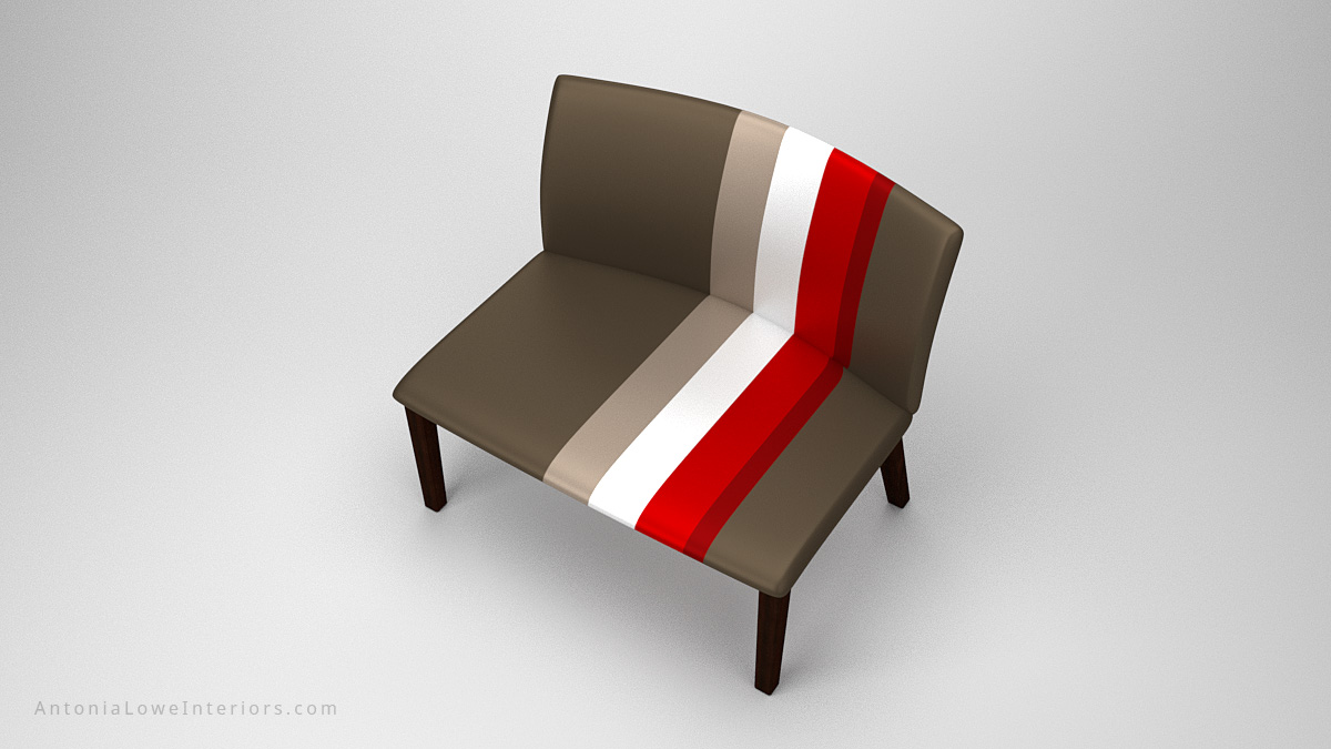 Top view Classic Modern Sports Style Seat grey wide sports style seat in grey with a trio of stripes in red, white and taupe on wooden legs