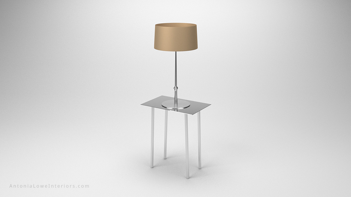 Stylish Mirrored Side Table And Lamp small mirrored table with matching mirrored lamp and beige lamp shade