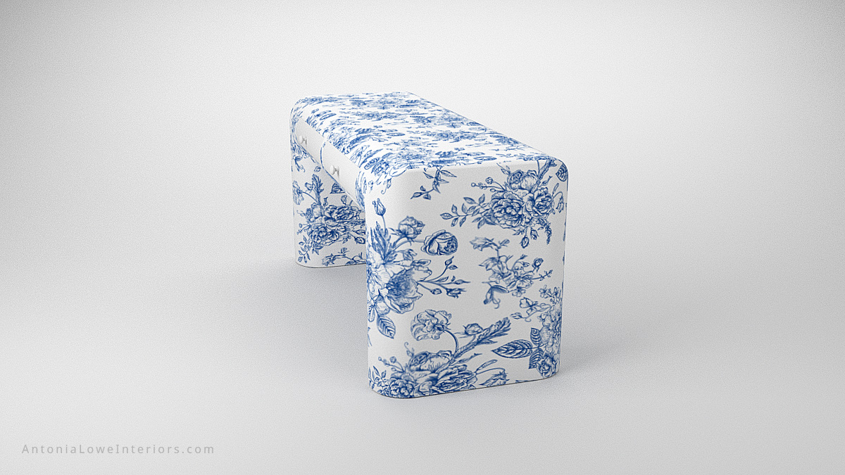 Delicate Porcelain Effect Designers Desk rounded edge white desk with hand painted blue floral print and white drawers