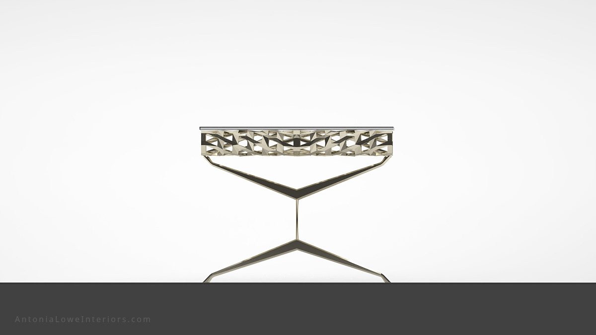 End view Contemporary Elegant Roll Top Lobby Table thin cross legged frame with a detailed cut out rolled top to support the clear rectangular glass table top