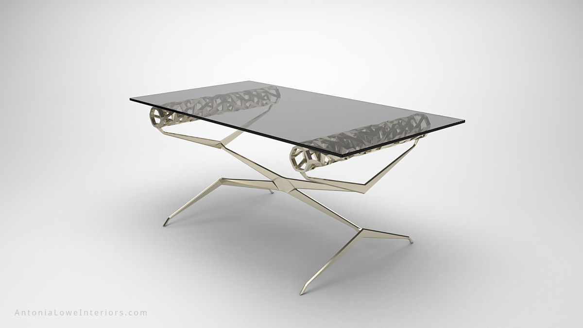 Contemporary Elegant Roll Top Lobby Table thin cross legged frame with a detailed cut out rolled top to support the clear rectangular glass table top