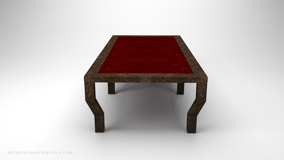 Antique Effect Rusted Steel Board Room Table six leg antique effect rusted steel table with central red rusted panel