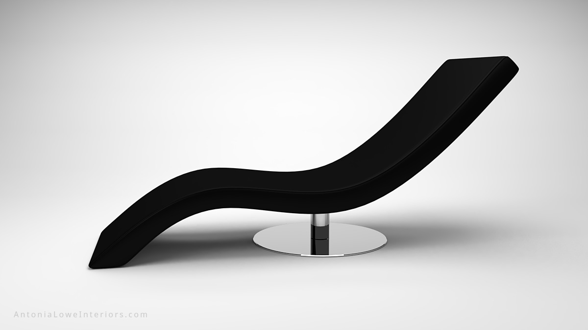 Modern Curved Sweep Black Lounging Chair single sweep black reclining lounging chair on a single circular polished chrome base