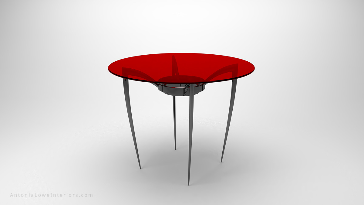 Sexy Elegant Black Widow Spider Coffee Table thin black spider legs with a red round glass table top