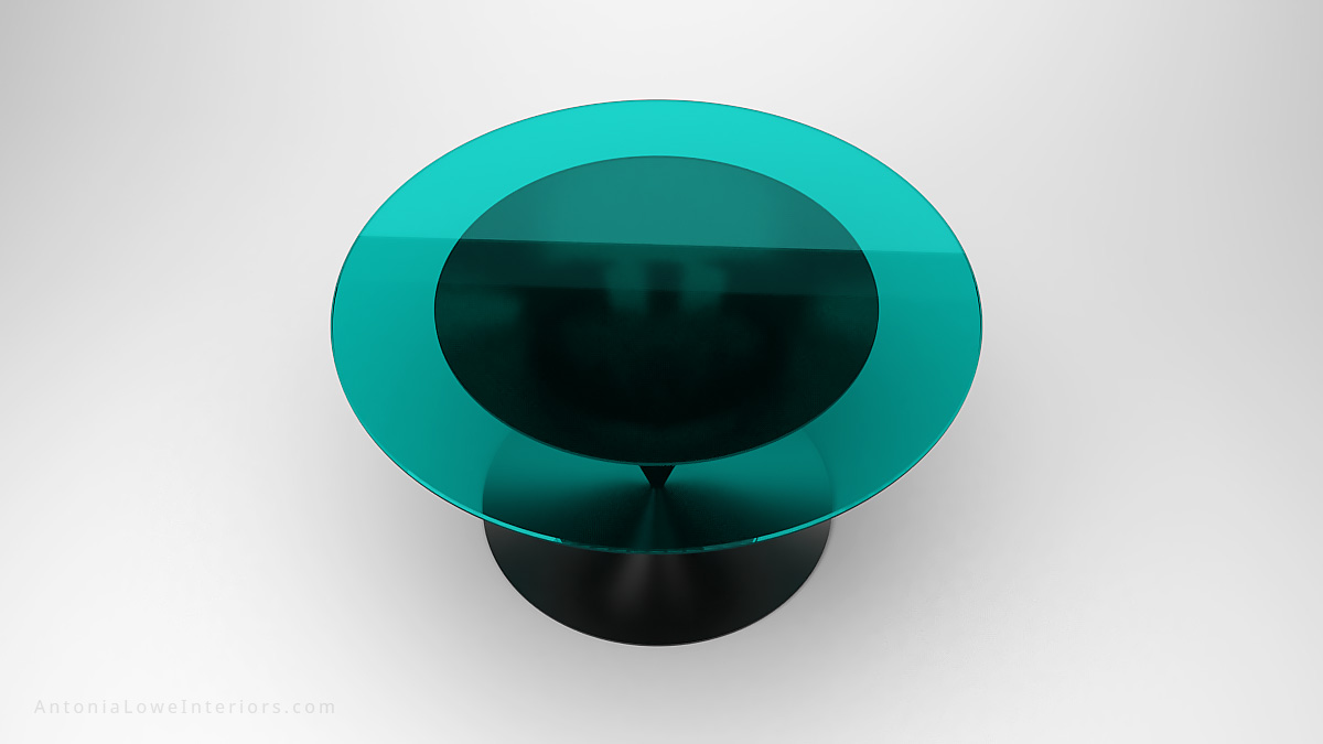 Modern Teal Spinner Table round teal glass table top with dark silver metal spinner style base