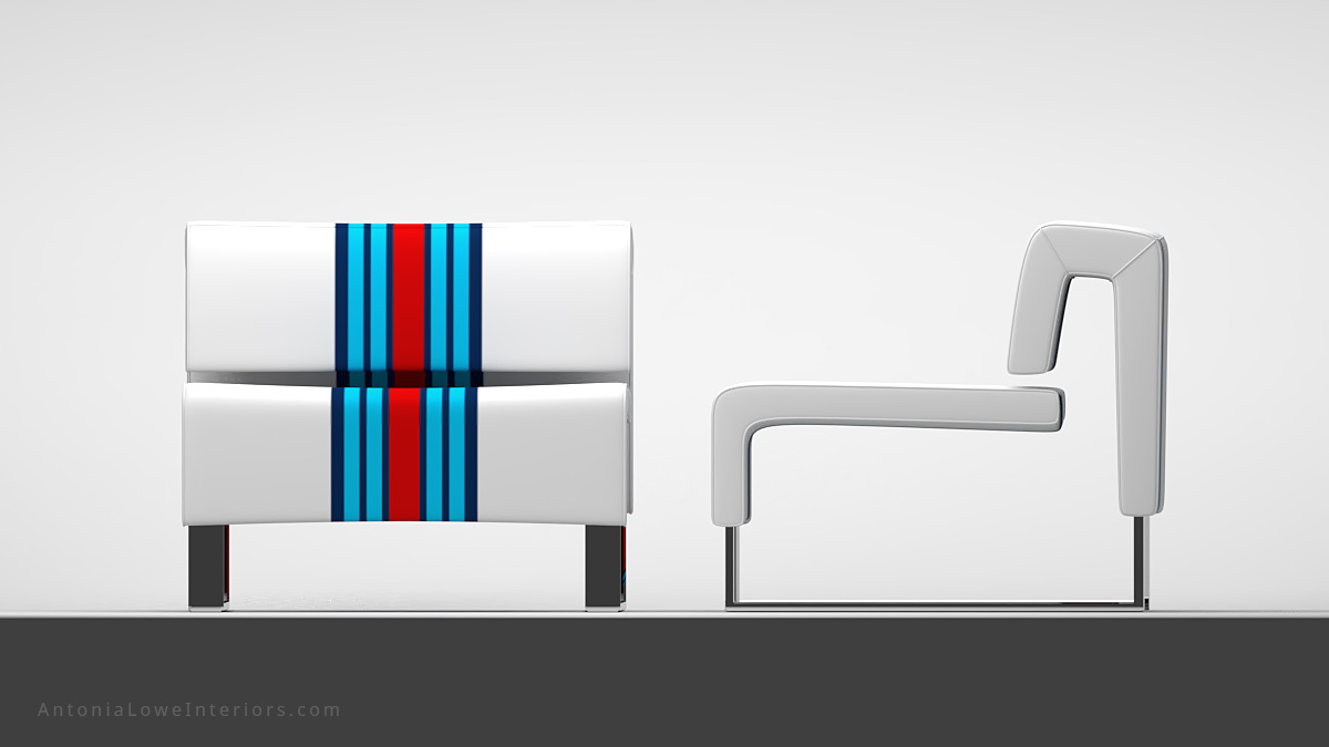 Front and side views Classic Modern Sporty Lounge Chair white square lounge chair with blue and red stripes on a square polished chrome base