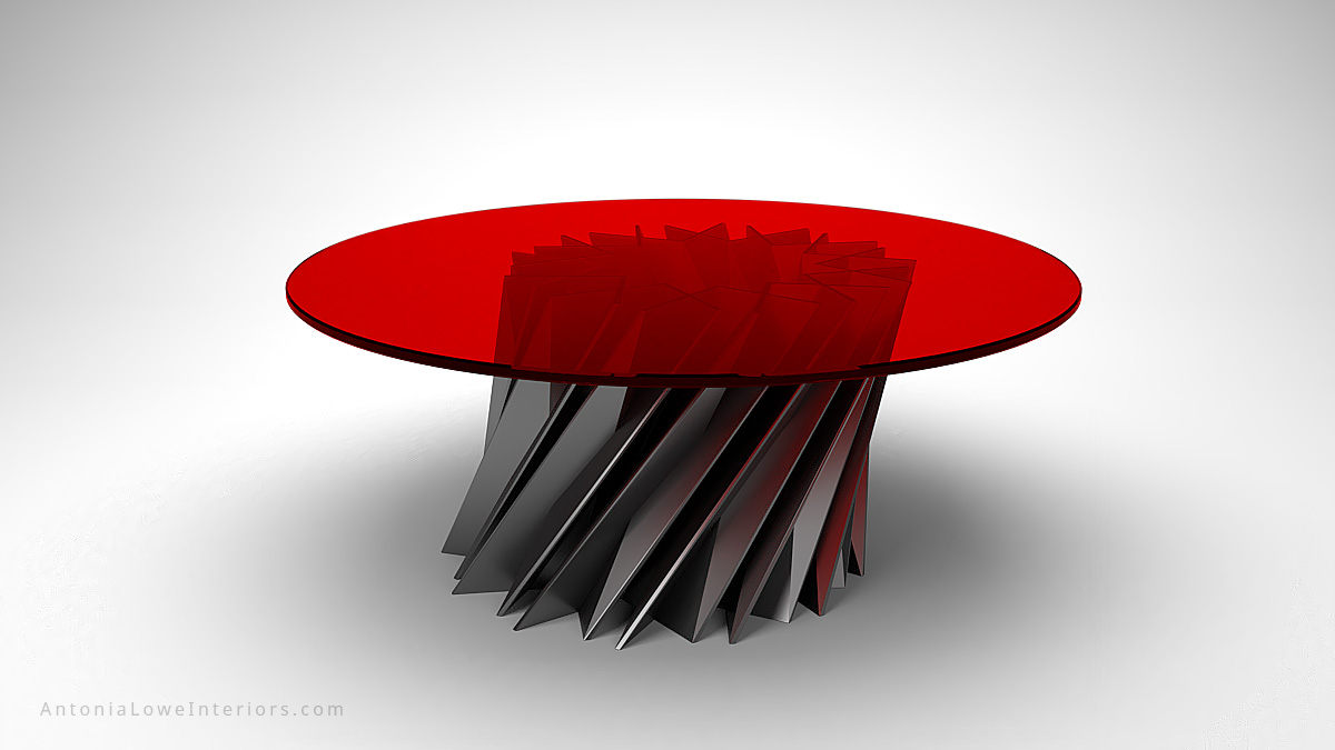 Starstruck Edgy Red Round Table metallic angular edgy metal base with round red glass on the top