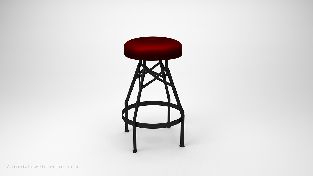 Sophisticated Steampunk Inspired Stools black frame legs and supports with padded round dark red seat cushion