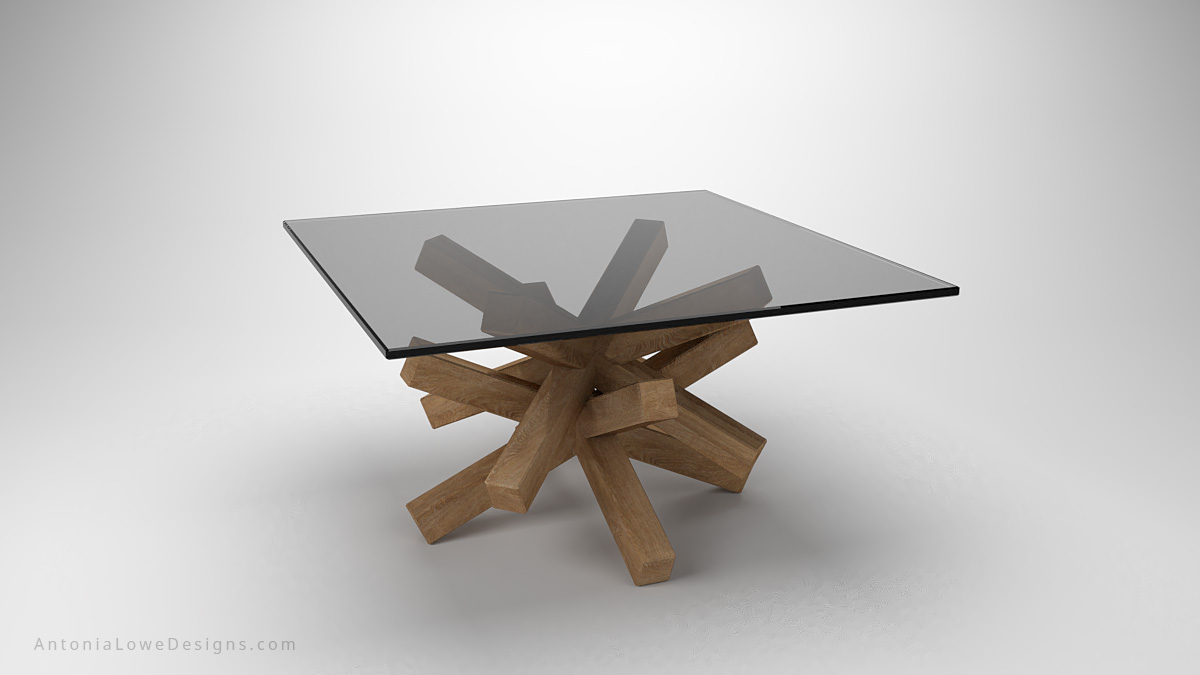 Japanese Inspired Stick Coffee Table angular stick base with square glass table top