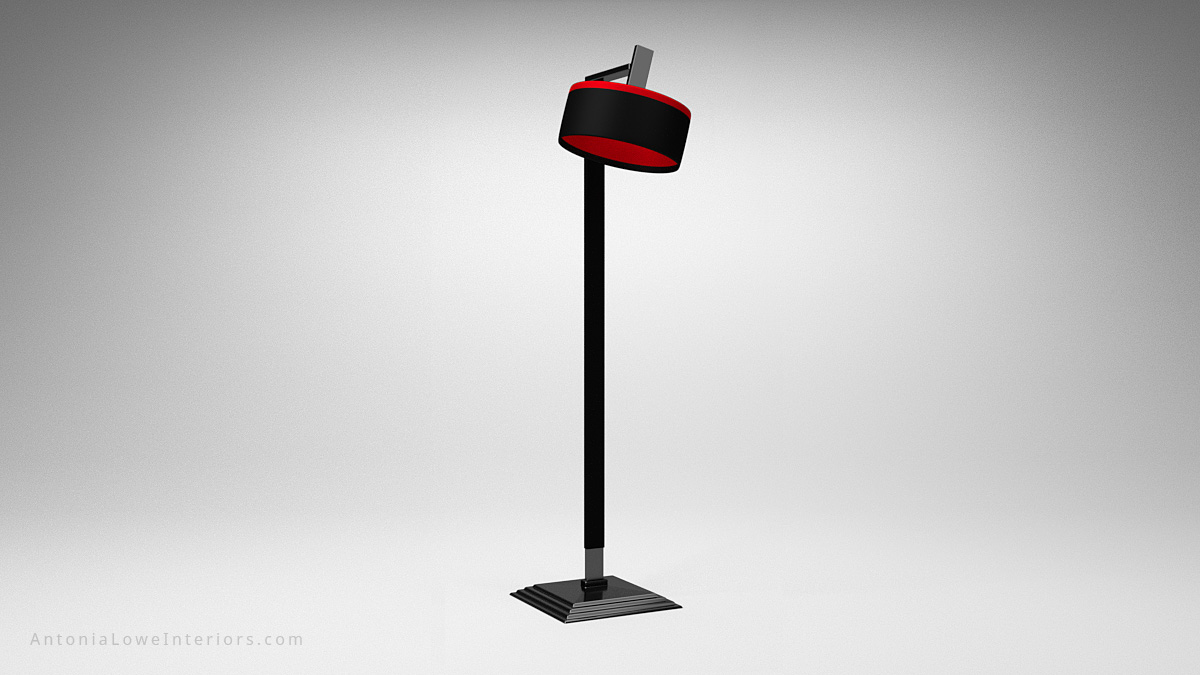 Sophisticated Tall Square Based Lamp black tall lamp holder on a square base with an elegant back and red lampshade with red interior