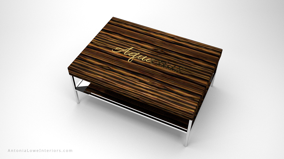 Contemporary Tiger Stripe Coffee Table tiger striped dark wood on a highly polished chrome base and legs with personalised gold name on the top of the wood