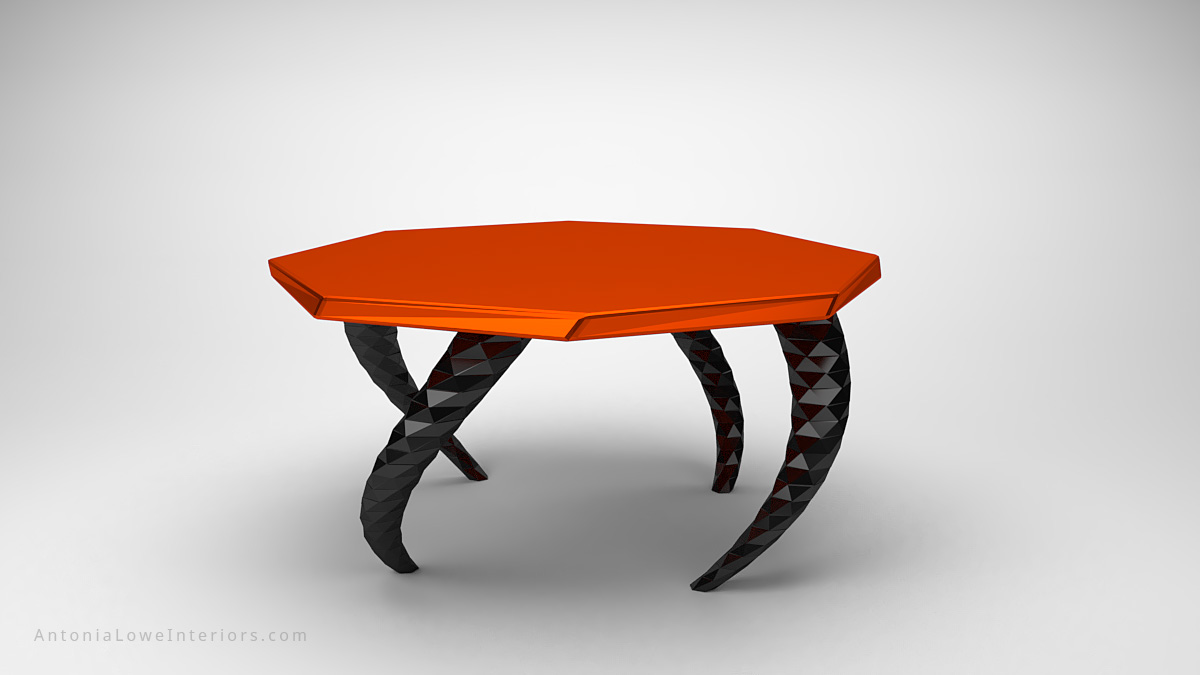 Funky Vibrant Orange Twisted Leg Lobby Table orange octagonal table top on twisted dark metallic geometric legs
