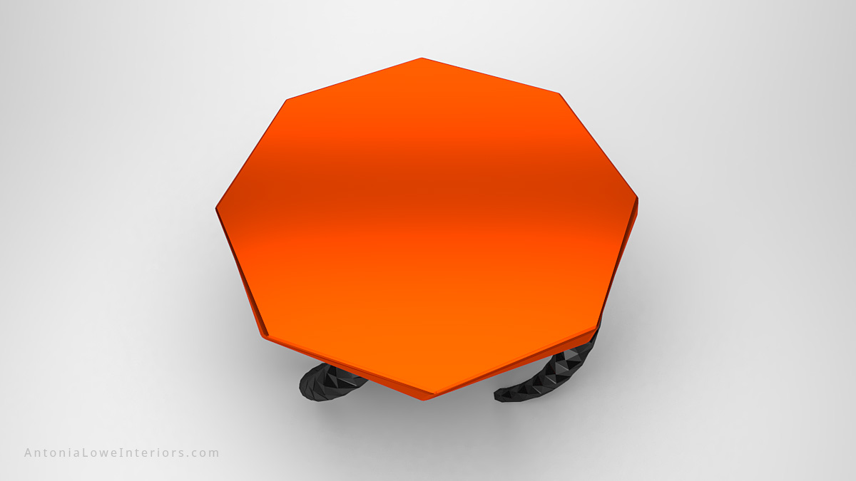Top view Funky Vibrant Orange Twisted Leg Lobby Table orange octagonal table top on twisted dark metallic geometric legs